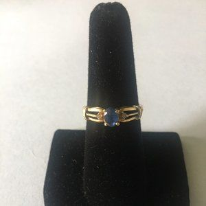 18K Solid Gold Sapphire and Diamond Ring Sz 7